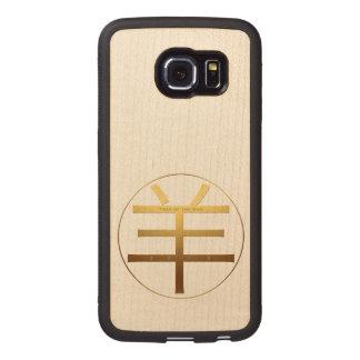 Ano de 2015 ram - símbolo gravado do texto - caso capa de madeira para telefone