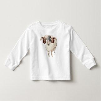 Ano de luva longa da criança dos carneiros, branco tshirts