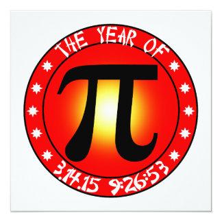 Ano de Pi 3/14/15 de 9:26: 53 Convite Quadrado 13.35 X 13.35cm