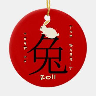 Ano do ano novo chinês 2011 do coelho enfeite