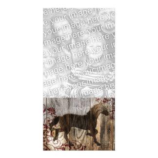 ano do cavalo de madeira cartão com foto