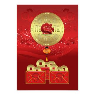 ano do convite de festas do dragão - ano novo convite 12.7 x 17.78cm