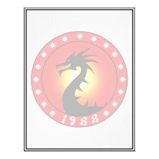 Ano do dragão 1988 modelo de panfleto