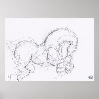 Ano do poster do desenho original do cavalo 3