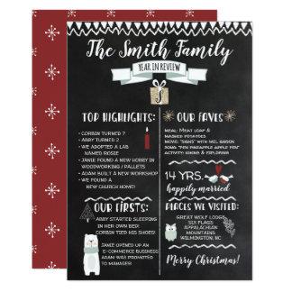 Ano no quadro do cartão de Natal da revisão