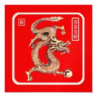 Ano novo chinês convite quadrado 13.35 x 13.35cm