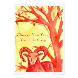 Ano novo chinês do partido do vermelho da ram dos convite 12.7 x 17.78cm