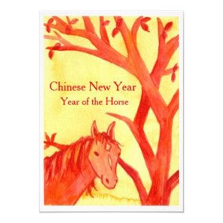 Ano novo chinês do partido do vermelho do cavalo convite 12.7 x 17.78cm