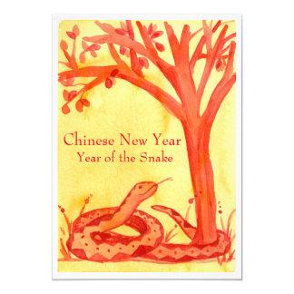 Ano novo chinês do partido do vermelho do cobra convite 12.7 x 17.78cm