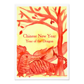 Ano novo chinês do partido do vermelho do dragão convite 12.7 x 17.78cm