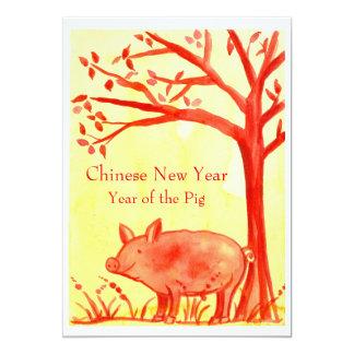 Ano novo chinês do vermelho do partido do porco convite 12.7 x 17.78cm