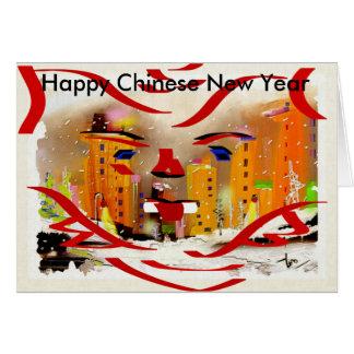 Ano novo chinês feliz cartão comemorativo
