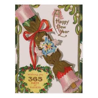 Ano novo com bombom cor-de-rosa cartão postal