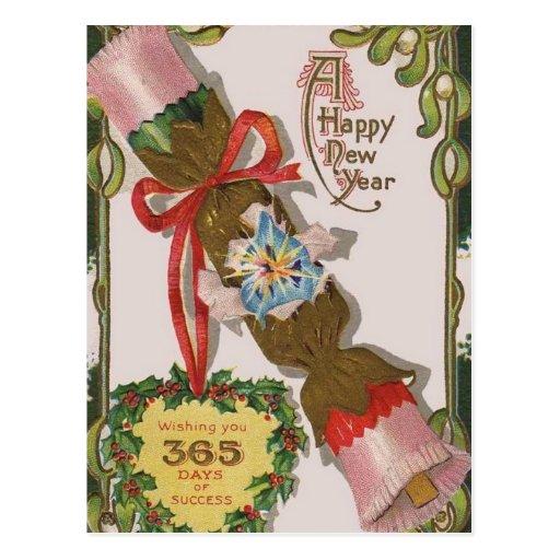 Ano novo com bombom cor-de-rosa cartao postal