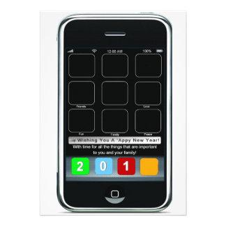 Ano novo de Iphone Appy Convites Personalizados