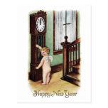 Ano novo do bebê e pulso de disparo de primeira ge cartoes postais
