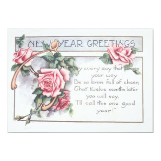 Ano novo do Wishbone cor-de-rosa Convite 12.7 X 17.78cm