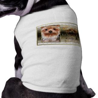 Ano novo - elegância dourada - yorkshire terrier camisetas para caes