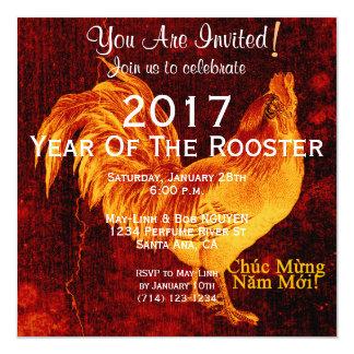 Ano novo vietnamiano 2017 do galo feito sob convite quadrado 13.35 x 13.35cm