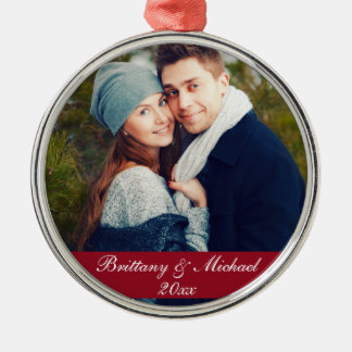 Ano R do ornamento da foto do casal do Natal
