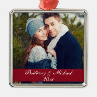 Ano S do ornamento da foto do casal do Natal