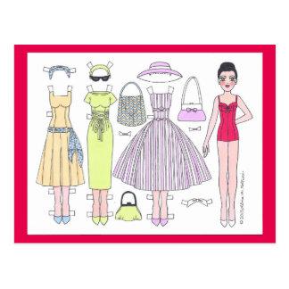 Anos 50 fabuloso: Cartão de papel da boneca de