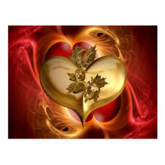 Anos dourados/coração de cor cartão postal