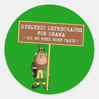 Anti dyslexic da paródia de Obama Adesivo Redondo