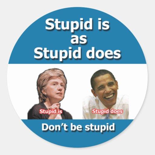 Anti etiquetas de Clinton Obama Adesivo Redondo
