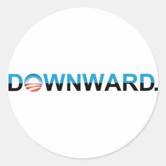 Anti-Obama 2012 - PARA BAIXO Adesivo Em Formato Redondo