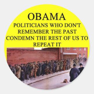 anti obama come a piada do rcih adesivo redondo