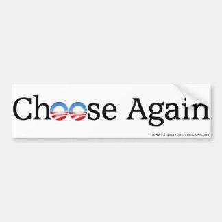 """Anti-Obama """"escolhe outra vez """" Adesivo Para Carro"""