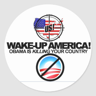 Anti Obama extremo graceja a etiqueta 01 Adesivo Em Formato Redondo