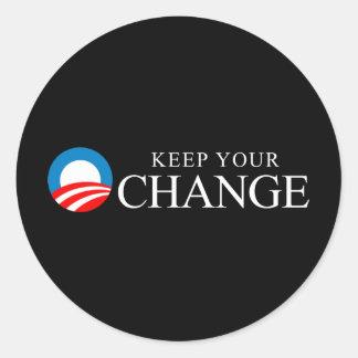 Anti-Obama - mantenha sua mudança Adesivos Em Formato Redondos