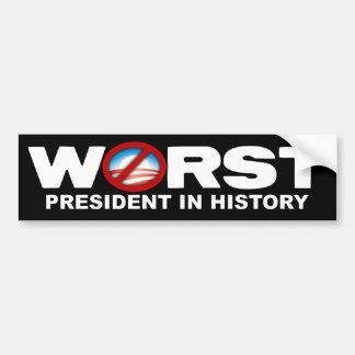 Anti Obama - o presidente o mais mau na história Adesivo Para Carro