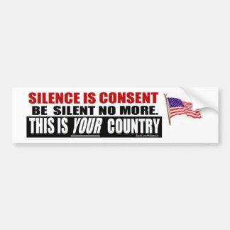 anti obama: O silêncio é acordo Adesivo Para Carro