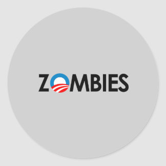 Anti-Obama - preto dos zombis Adesivo Redondo
