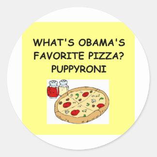 anti piada da pizza de obama adesivos redondos