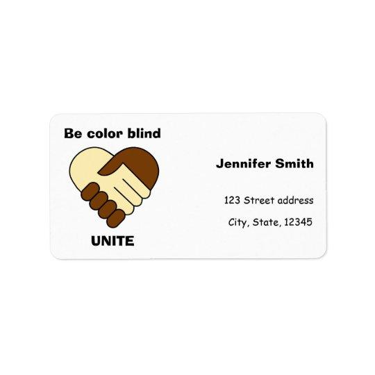Anti tema do racismo etiqueta de endereço
