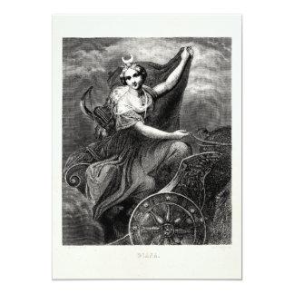 Antigo romano grego de Diana Artemis da deusa do Convite 12.7 X 17.78cm