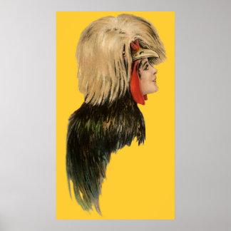 Antiguidade da mulher do chapéu do pássaro da mant poster