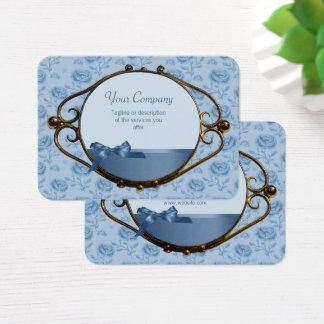 Antiguidade elegante azul sonhadora floral cartão de visitas