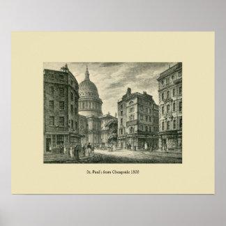 Antiguidade Londres 1800 St Paul de Cheapside Posters