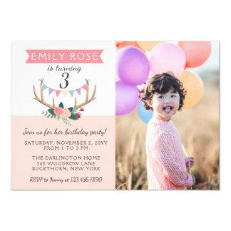 Antlers & convite cor-de-rosa do aniversário da