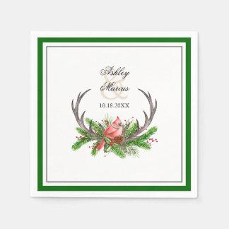 Antlers e cardeal rústicos com beira verde escuro guardanapo de papel
