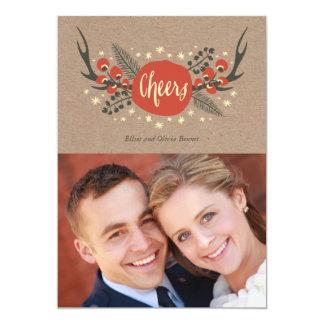 Antlers e cartão com fotos do feriado do pinho convite 12.7 x 17.78cm