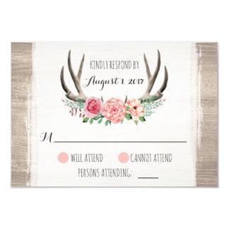 Antlers florais casamento rústico RSVP Convite 8.89 X 12.7cm