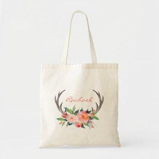 Antlers florais rústicos de Boho com nome Bolsa Tote