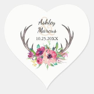 Antlers florais rústicos de Boho que Wedding Adesivo Coração