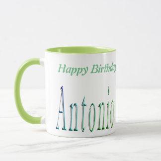 Antonio, logotipo do feliz aniversario, caneca